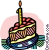 Vector Clipart image  of a piece of birthday cake