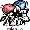 Easter eggs and flower Vector Clip Art graphic