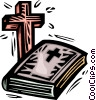 Vector Clip Art graphic  of a Bible and cross
