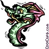 Vector Clipart graphic  of a Colorful dragon