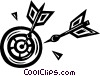 Vector Clip Art image  of a Darts in dartboard