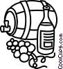 Vector Clip Art graphic  of a Wine barrel with grapes and