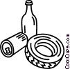 Tire, can, and wine bottle Vector Clip Art picture