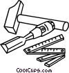 chisel hammer and ruler Vector Clipart illustration