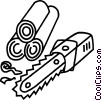Chainsaw and logs Vector Clip Art picture
