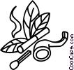 Pipe, cigarette, match and tobacco Vector Clip Art picture