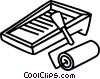 Vector Clipart graphic  of a Paint tray and roller