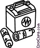Car battery and AAA batteries Vector Clip Art picture