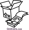 Shipping box with notepad Vector Clip Art image