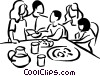 Vector Clipart illustration  of a family at the table