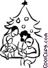 Vector Clip Art image  of a family opening up Christmas