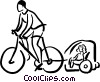 Vector Clip Art graphic  of a cyclist on a bike pulling a