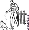farmer feeding the chickens Vector Clipart image