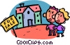 Vector Clipart image  of a House for sale