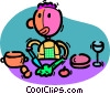 Vector Clipart graphic  of a man preparing a meal