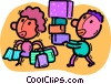 people shopping Vector Clip Art graphic