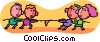 Vector Clipart graphic  of a tug-o-war