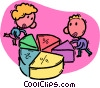 Vector Clipart graphic  of a people with a pie chart