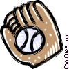Vector Clipart graphic  of a baseball with glove