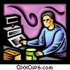 Person working the cash register Vector Clipart picture