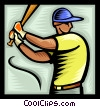 Baseball player at bat Vector Clipart illustration