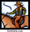 Cowboy on a horse Vector Clip Art image