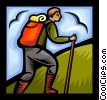 Vector Clipart graphic  of a hiker climbing a hill
