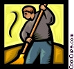 Vector Clipart graphic  of a person sweeping