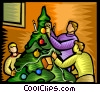 family decorating the Christmas tree Vector Clip Art graphic