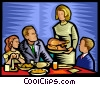 family sitting down to a special meal Vector Clip Art graphic