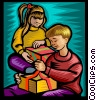 Vector Clipart graphic  of a children opening gifts