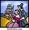 Pilgrims with the first thanksgiving meal Vector Clipart picture