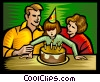 Vector Clip Art image  of a Child blowing out the candles