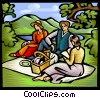 people on a picnic Vector Clip Art image
