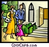 Vector Clip Art picture  of a Family going to church