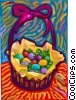 Easter eggs in a basket Vector Clipart graphic