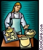Vector Clipart graphic  of a woman baking