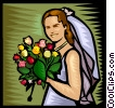 Bride with flowers Vector Clip Art graphic