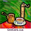 Vector Clipart graphic  of a coffee cup and grinder