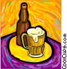 beer glass and bottle Vector Clipart image