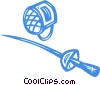 Vector Clipart image  of a foil and fencing headgear
