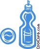 Vector Clip Art picture  of a water bottle and ball