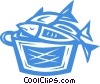 Vector Clip Art graphic  of a basket of fish