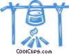 cooking pot on an open fire Vector Clipart picture