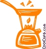 Vector Clipart graphic  of a kettle and frying pan on an