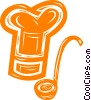 Vector Clip Art graphic  of a chef's hat and soup ladle