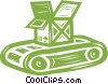 conveyor belt with a shipping crate Vector Clipart image