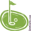 Vector Clip Art image  of a golf ball on the green near