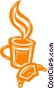 coffee and a croissant Vector Clipart image