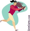 Vector Clip Art graphic  of a woman running with a news
